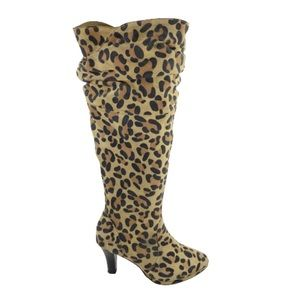 Hot N Hollywood Leather Leopard Slouch Boots 6.5